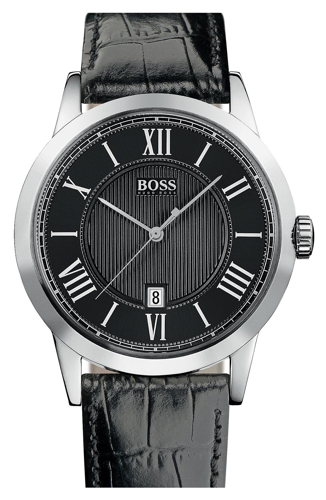 Main Image - BOSS HUGO BOSS Round Case Leather Strap Watch, 42mm