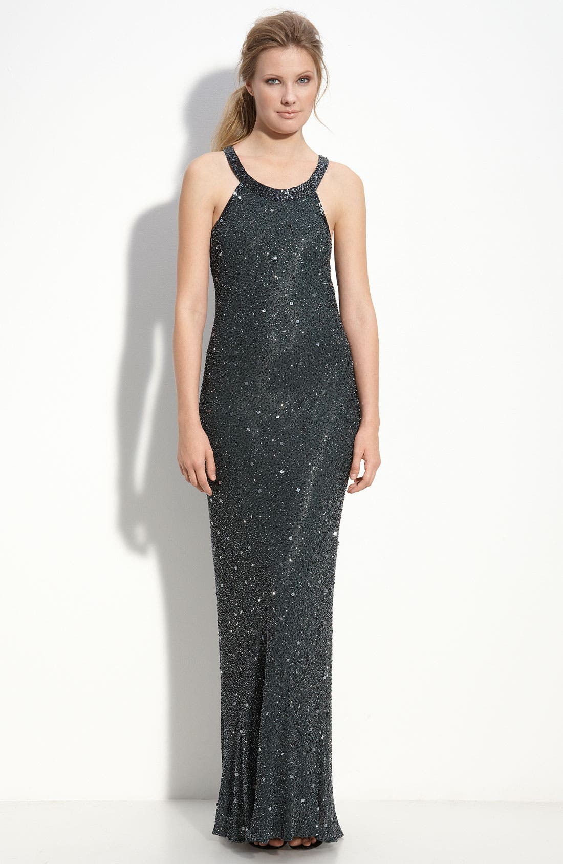 Alternate Image 1 Selected - Adrianna Papell Illusion Back Sequin & Bead Gown