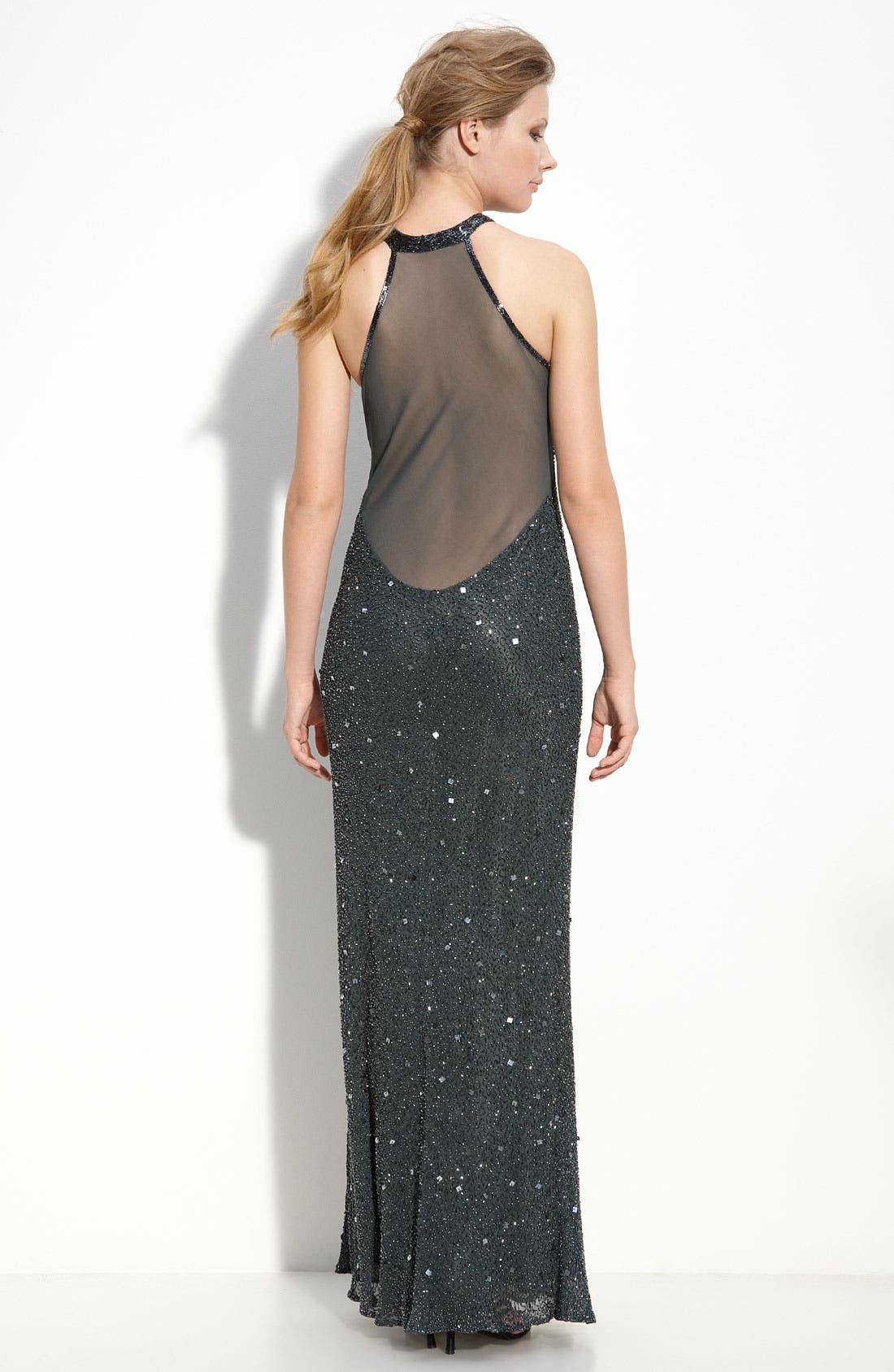 Alternate Image 2  - Adrianna Papell Illusion Back Sequin & Bead Gown