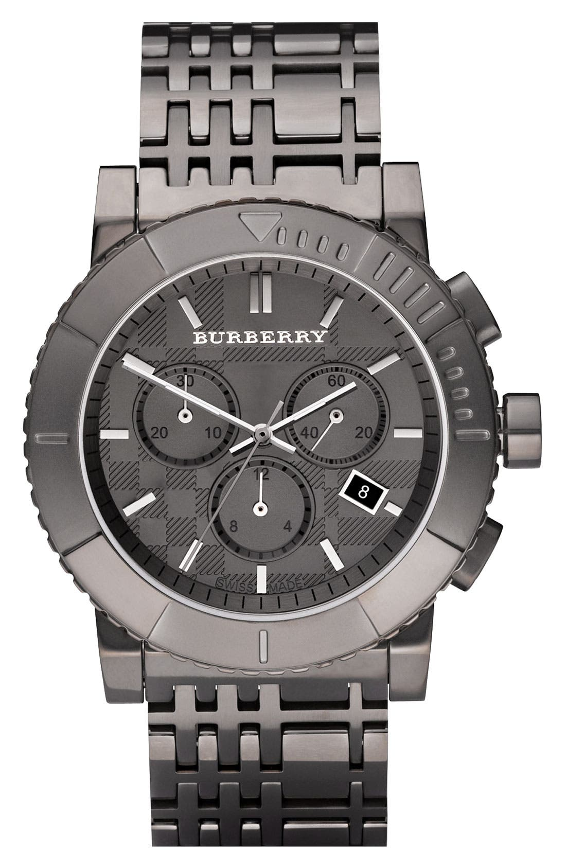 Alternate Image 1 Selected - Burberry Round Chronograph Bracelet Watch