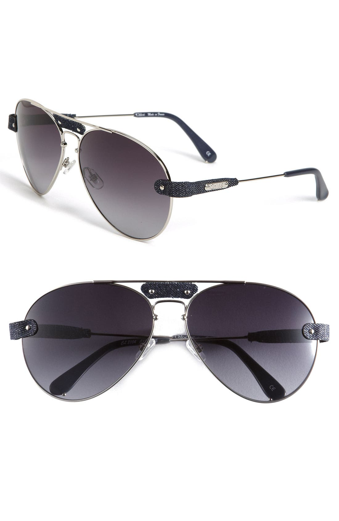 Main Image - Chloé Aviator Sunglasses with Leather Trim