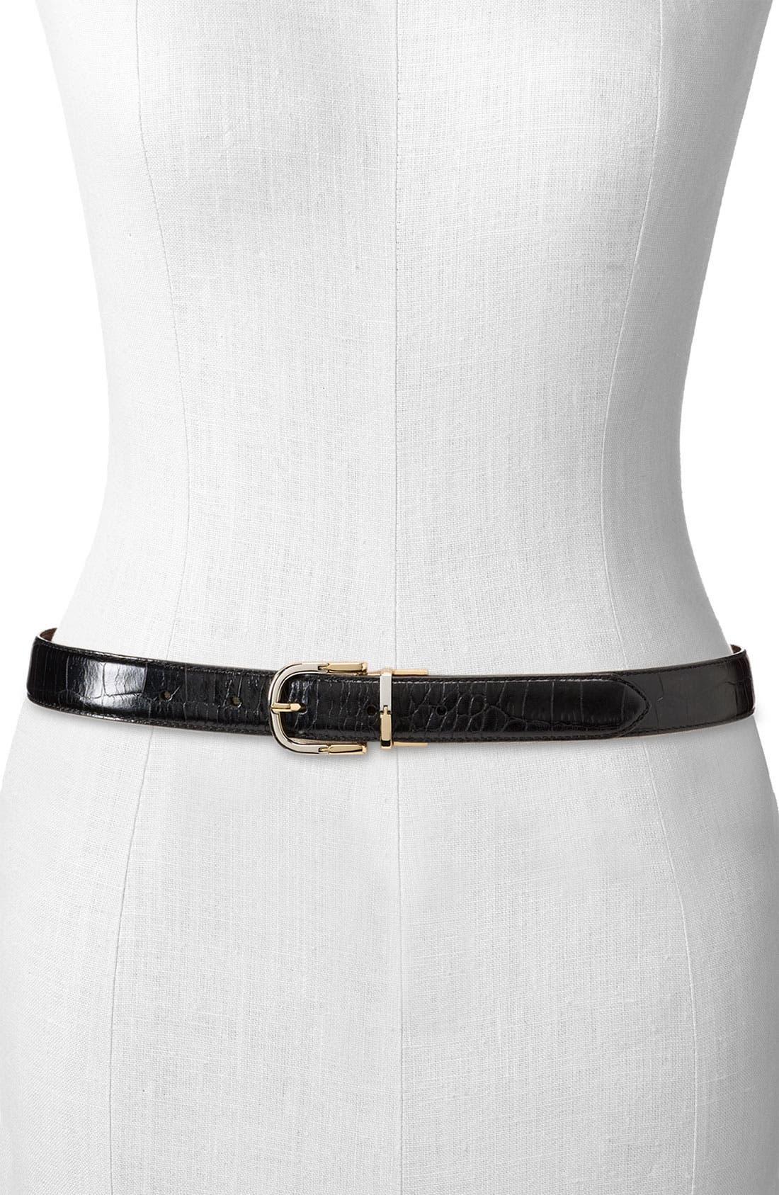 Main Image - Lauren Ralph Lauren Reversible Croc Embossed Belt