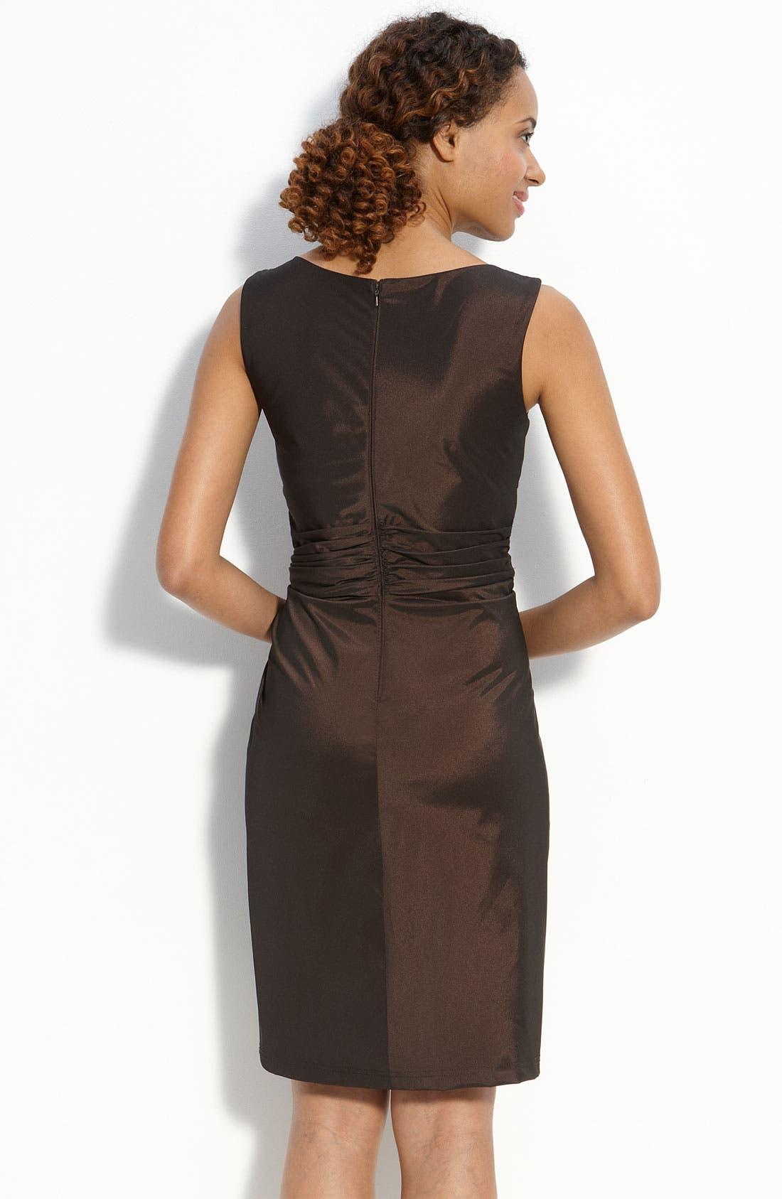 Ruffle Front Taffeta Sheath Dress,                             Alternate thumbnail 2, color,                             Umber