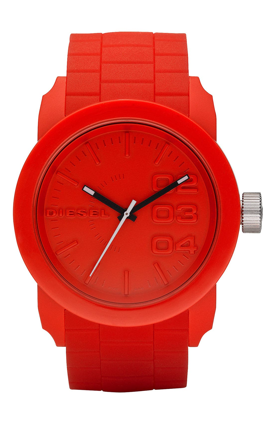 'Double Down' Round Silicone Strap Watch, 44mm,                             Main thumbnail 1, color,                             Red