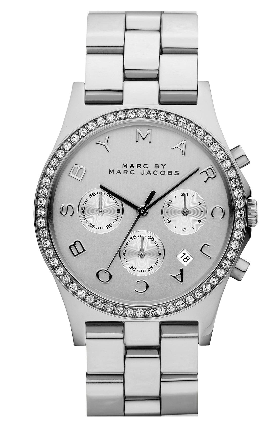 'Henry' Chronograph & Crystal Topring Watch, 40mm,                         Main,                         color, Silver