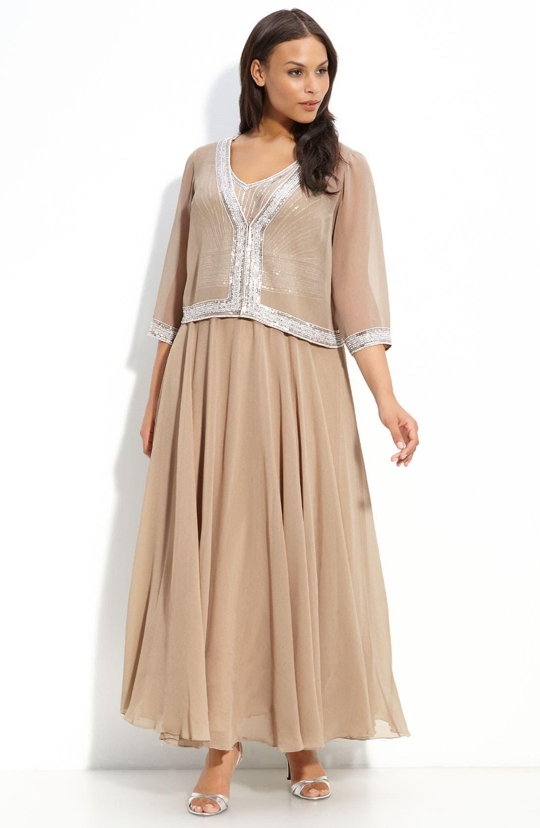 Alternate Image 1 Selected - J Kara Sequin Gown & Jacket (Plus Size)