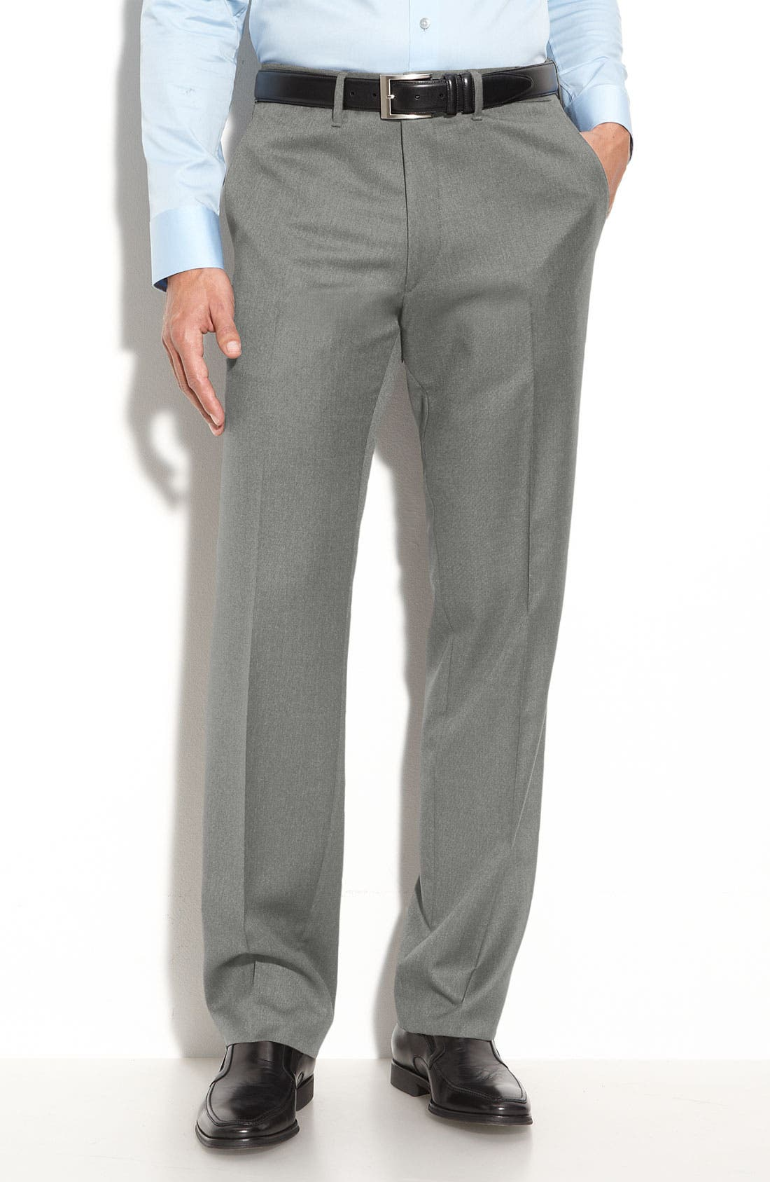 Main Image - BOSS Black 'Cagan' Flat Front Wool Trousers