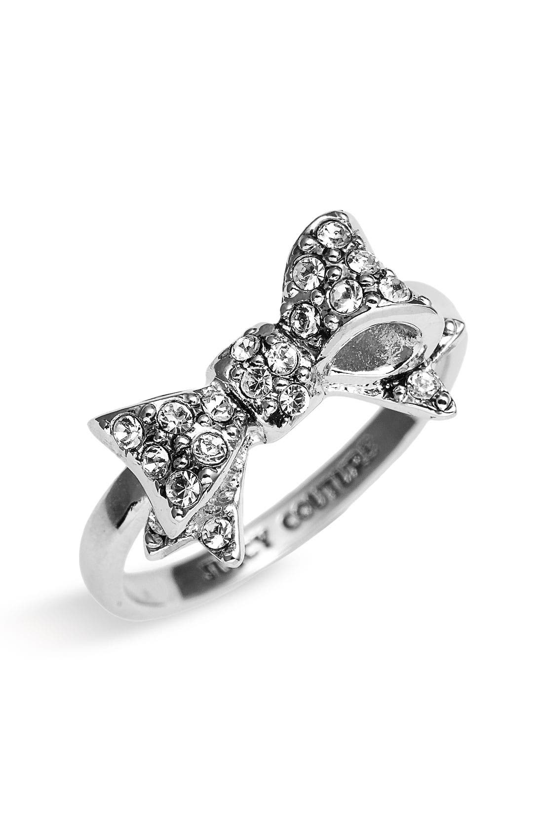 'Bows for a Starlet' Pavé Bow Ring,                         Main,                         color, Silver