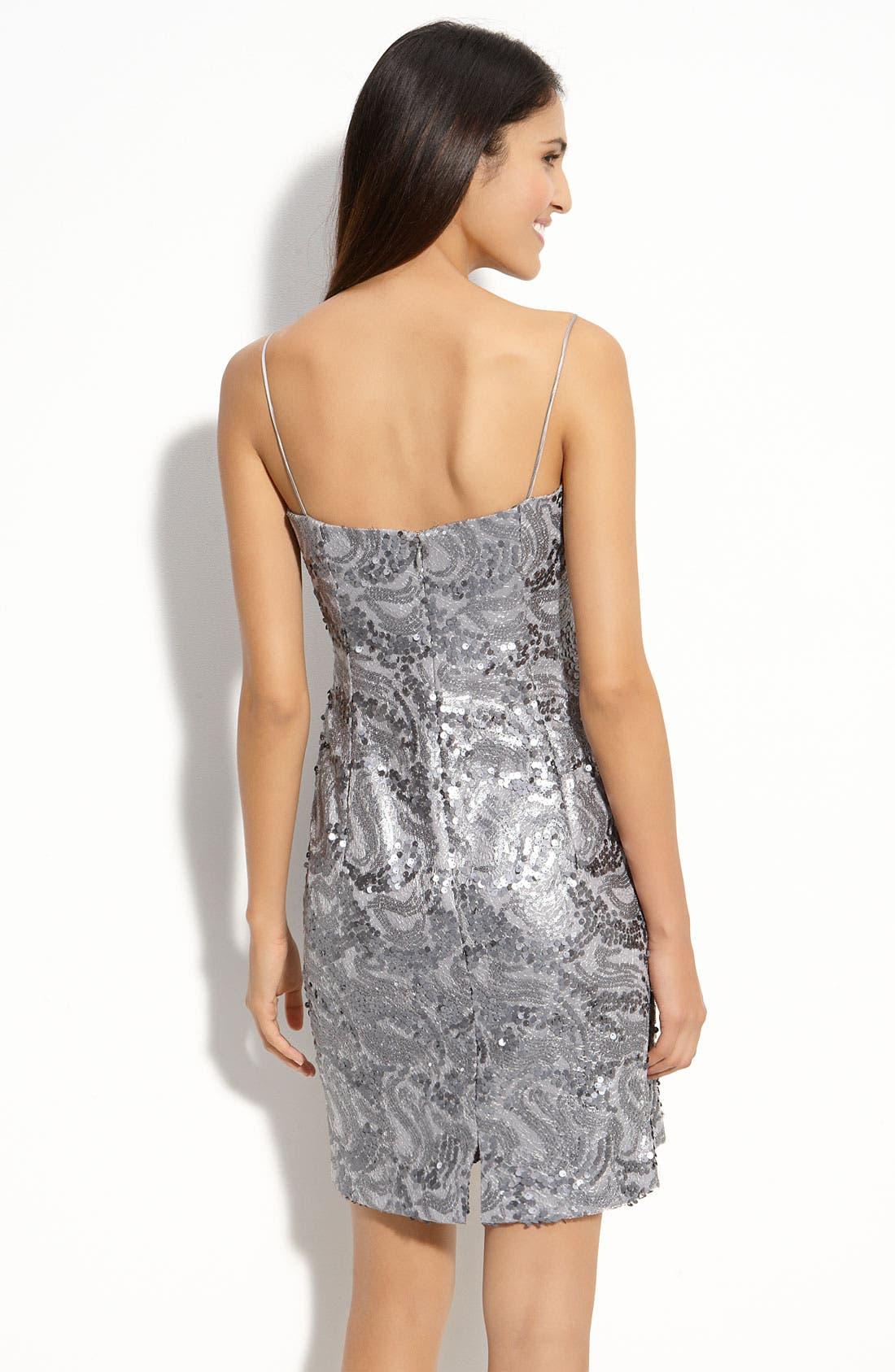 Alternate Image 2  - JS Boutique Sequin Mesh Sheath Dress