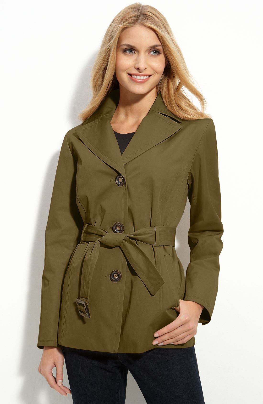 Main Image - Ellen Tracy Hooded Short Trench (Nordstrom Exclusive)