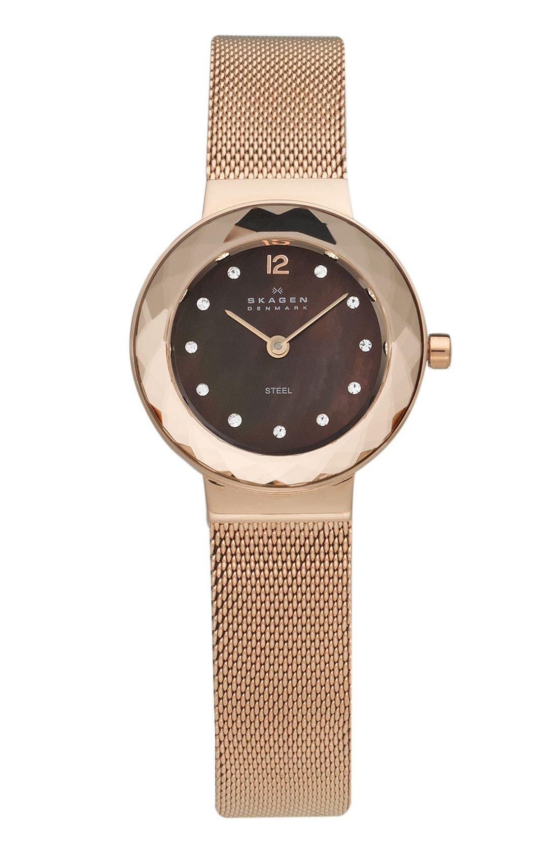 Main Image - Skagen 'Leonora' Faceted Glass Bezel Watch