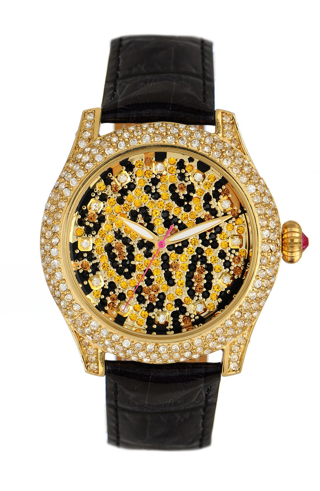 Alternate Image 1 Selected - Betsey Johnson 'Bling Bling Time' Leopard Dial Watch