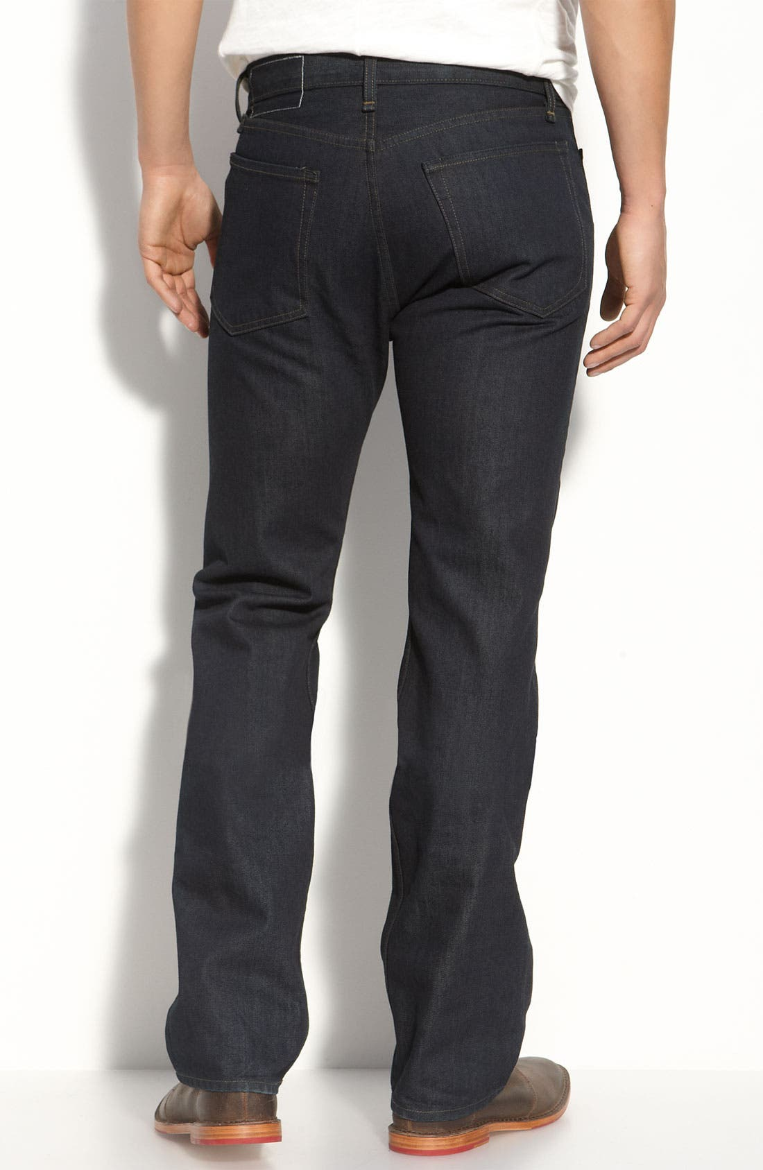 Main Image - rag & bone Straight Leg Jeans (Blue Resin Wash)
