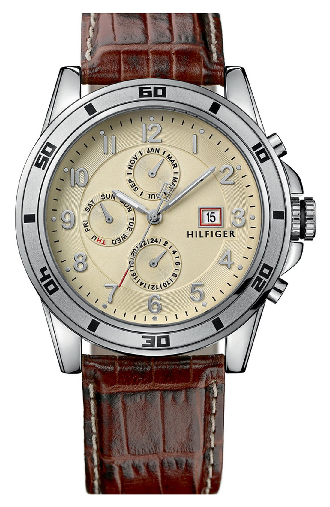 Main Image - Tommy Hilfiger Multi Eye Leather Strap Watch, 46mm