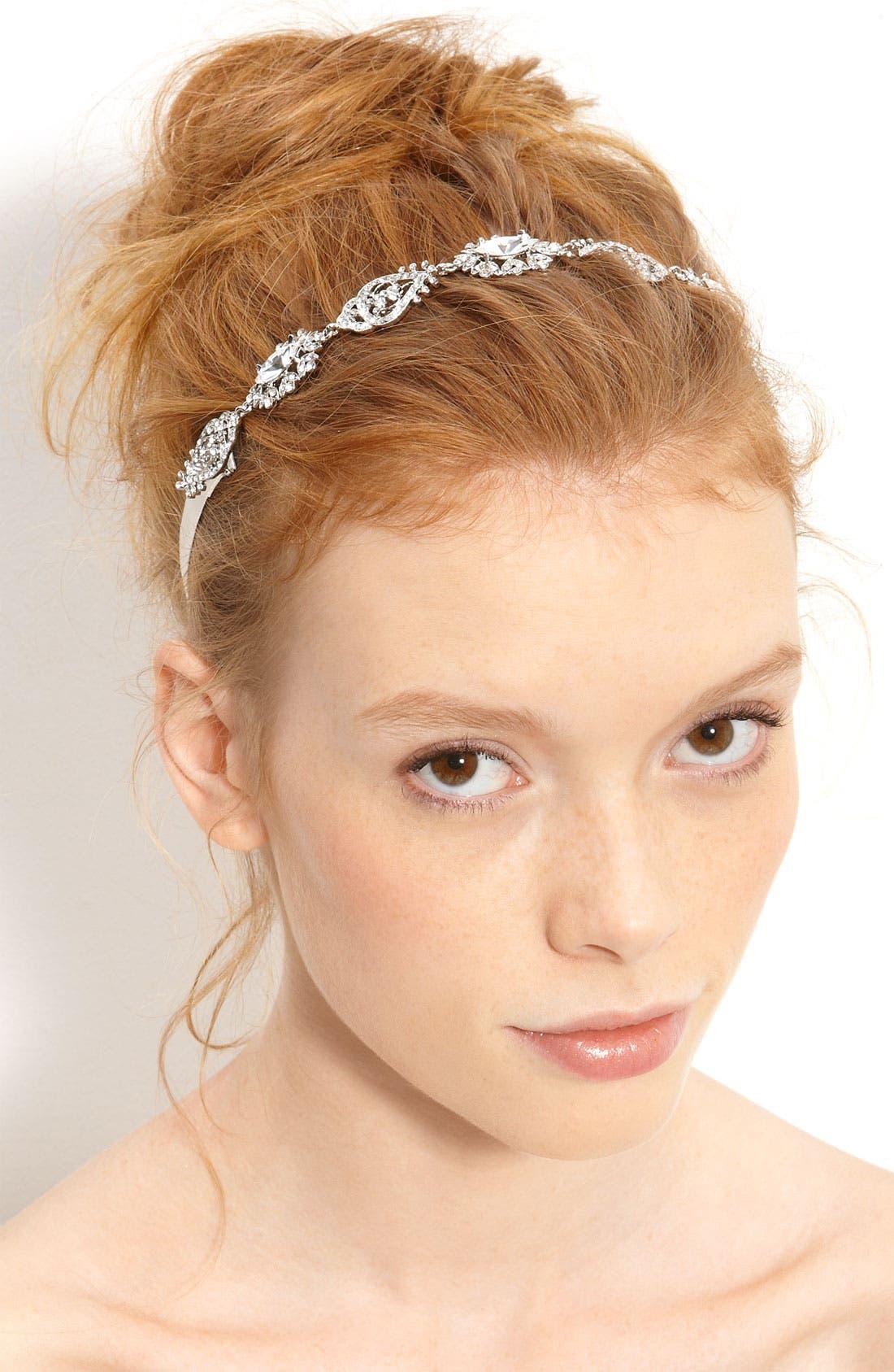 Alternate Image 1 Selected - Nina 'Abril' Crystal Ribbon Head Wrap