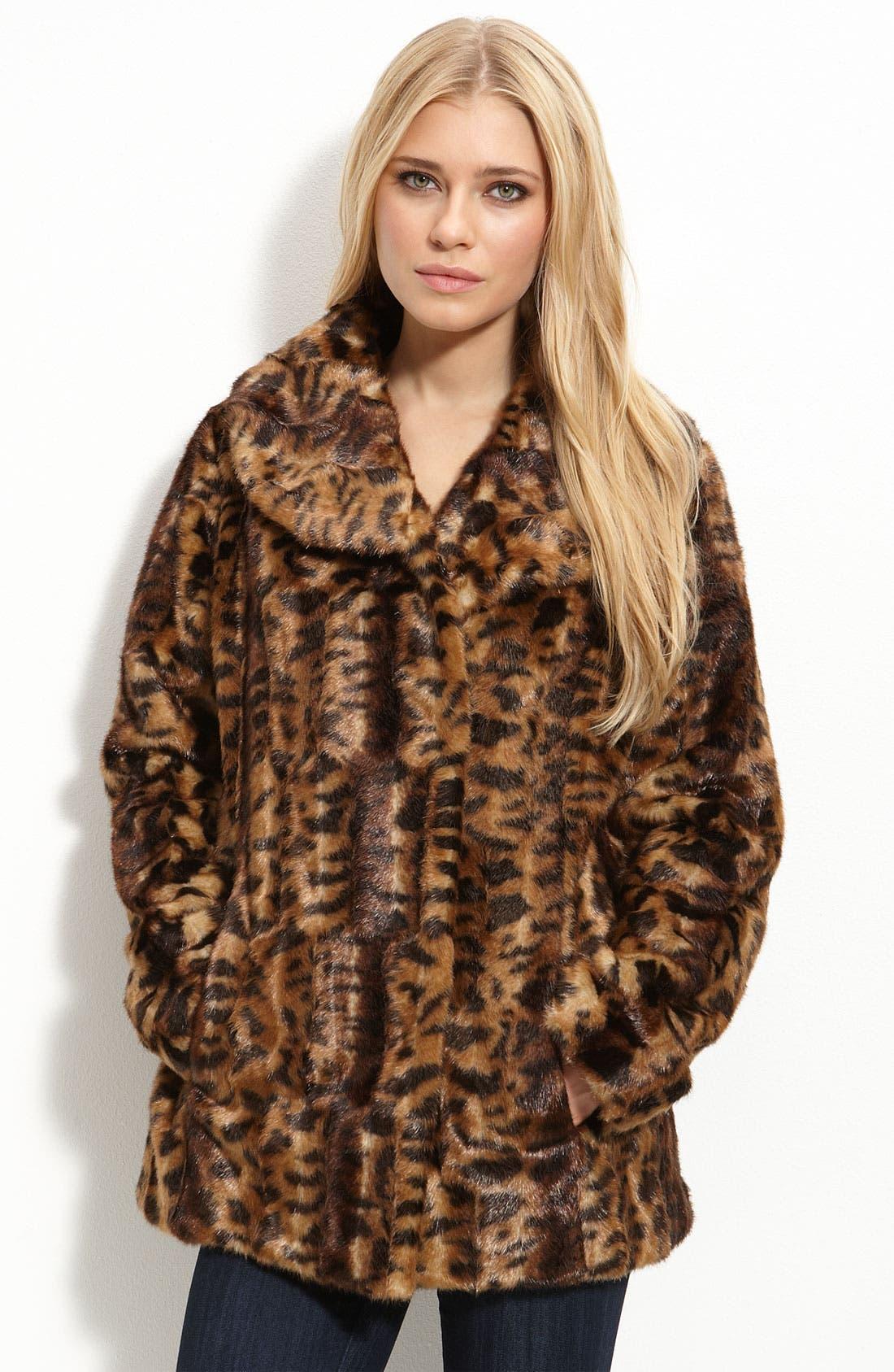 Faux Fur Jacket,                             Main thumbnail 1, color,                             Leopard