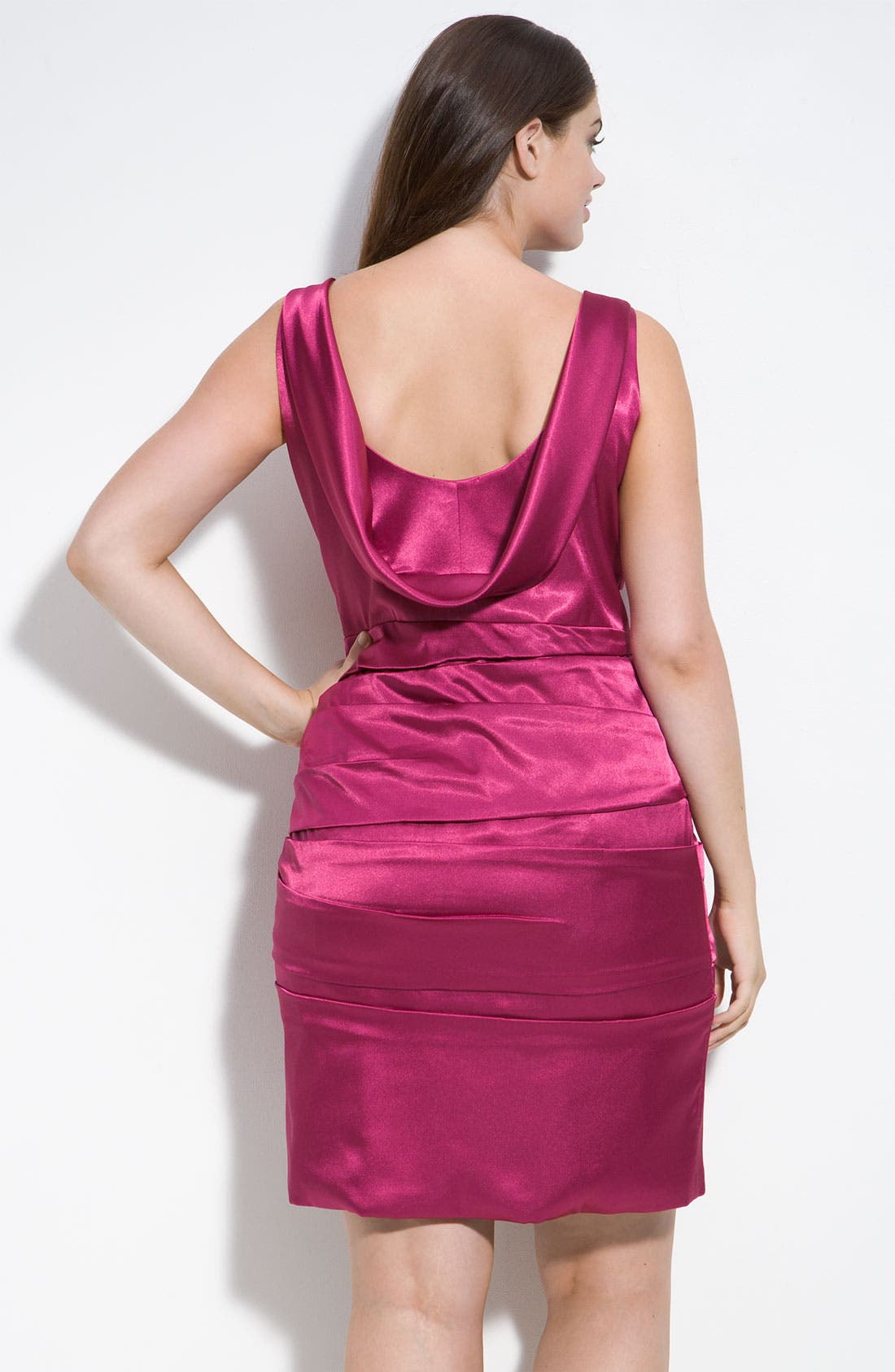 Alternate Image 2  - JS Collections Cowl Back Pleated Dress (Plus)