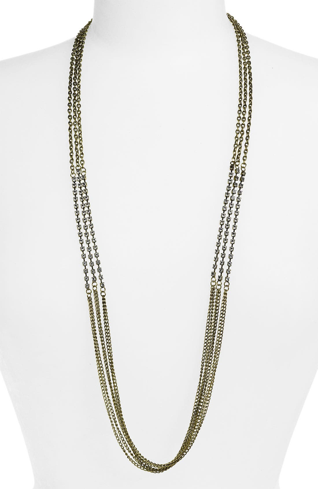 Main Image - Stephan & Co. Triple Row Chain & Rhinestone Necklace