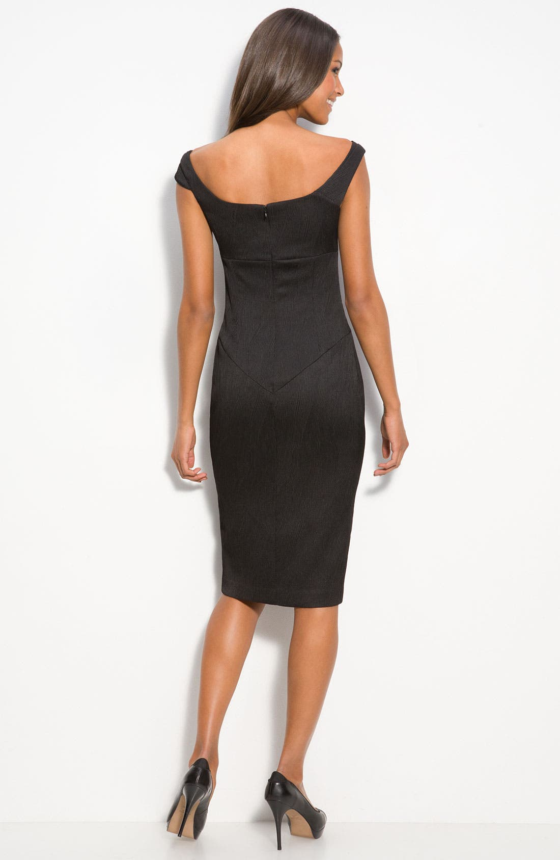 Alternate Image 2  - Black Halo Texture Satin Off the Shoulder Sheath Dress