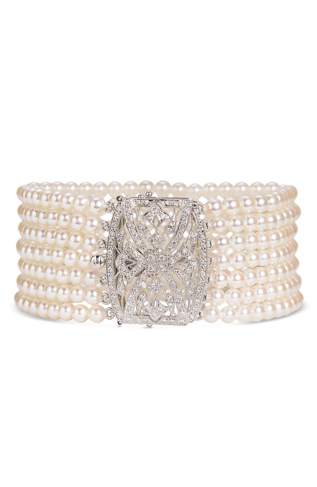 Alternate Image 1 Selected - Mastoloni 7-Strand Pearl & Diamond Clasp Bracelet