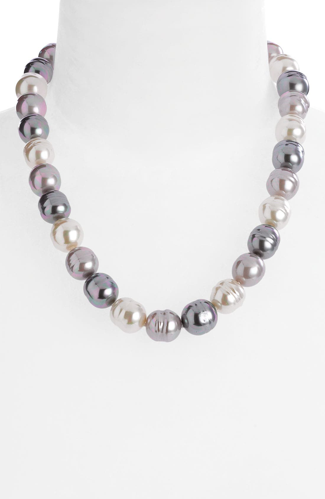 14mm Baroque Pearl Necklace,                             Alternate thumbnail 2, color,                             Grey/ Silver