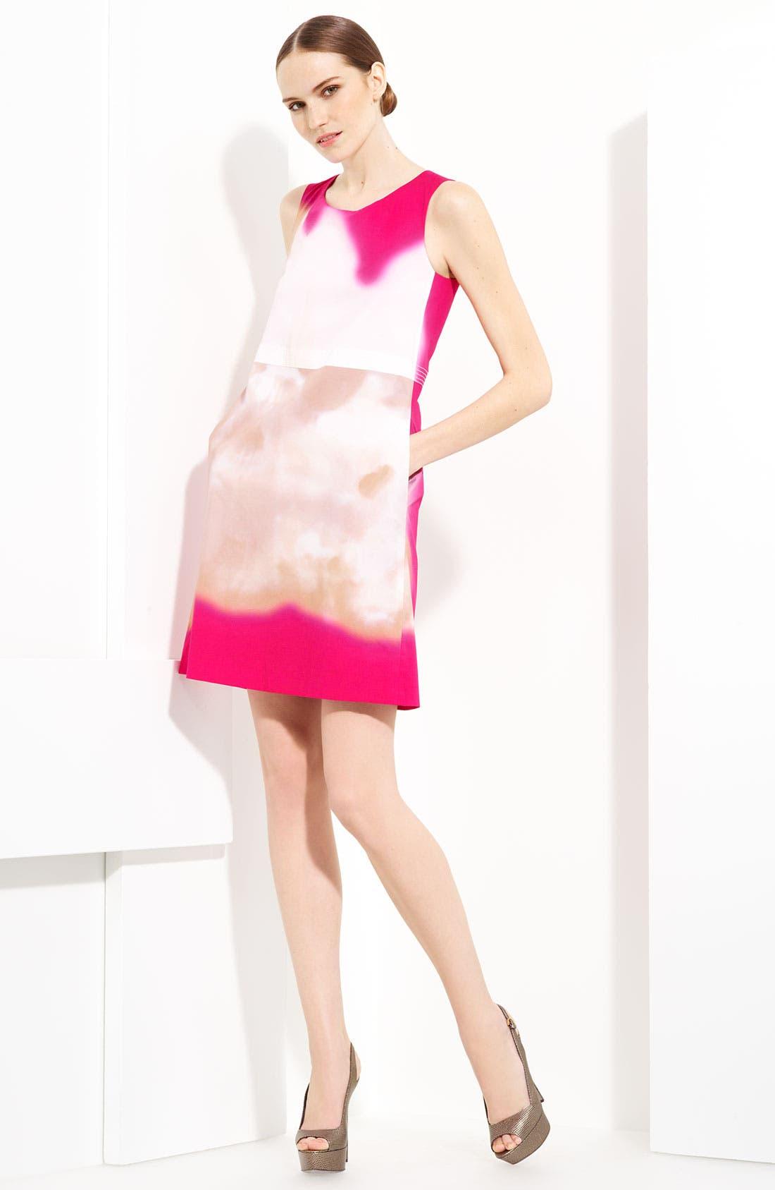 Alternate Image 1 Selected - Piazza Sempione Watercolor Print Stretch Cotton Dress