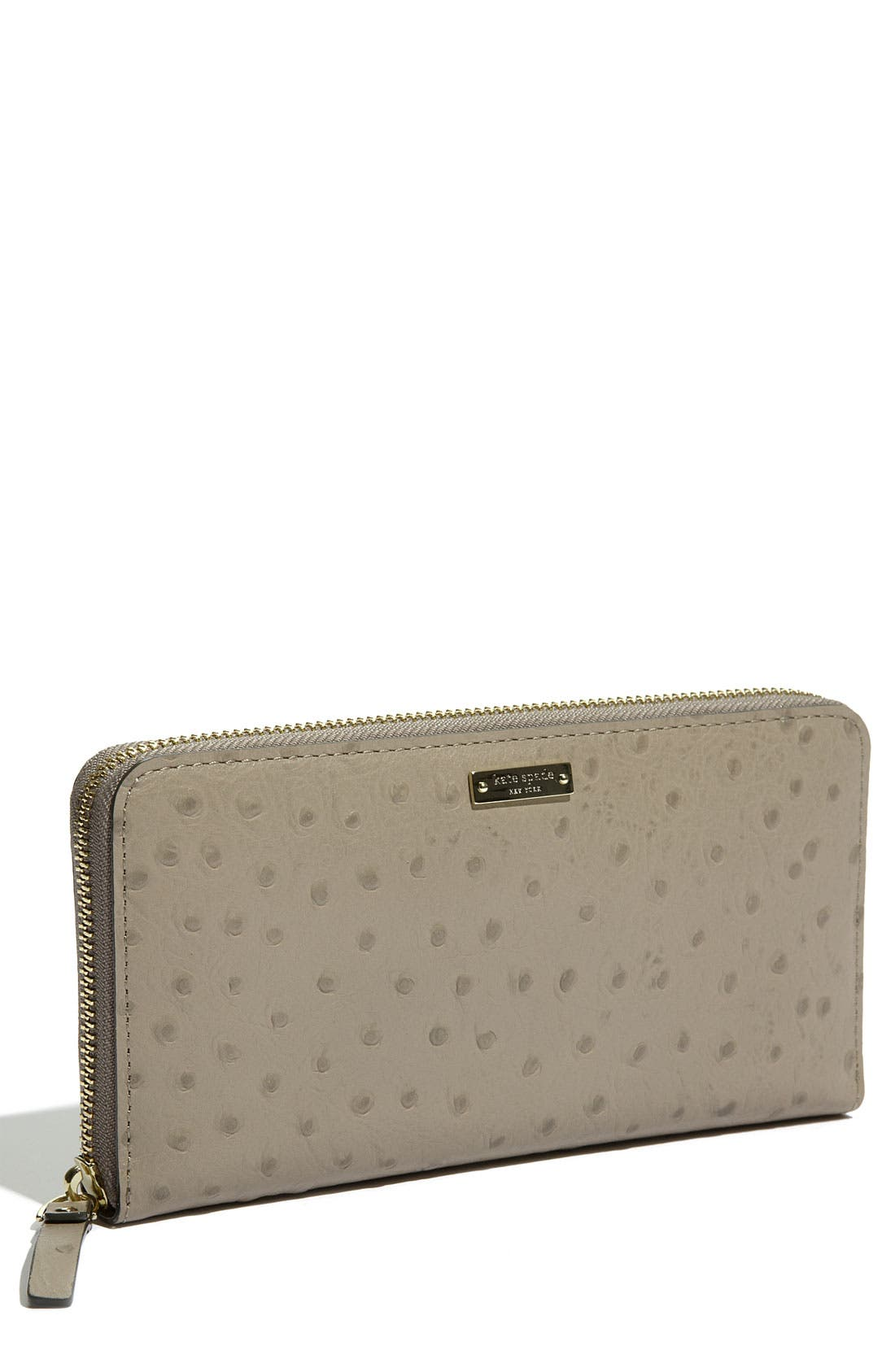 'portola valley - lacey' ostrich embossed wallet,                             Main thumbnail 1, color,                             Taupe