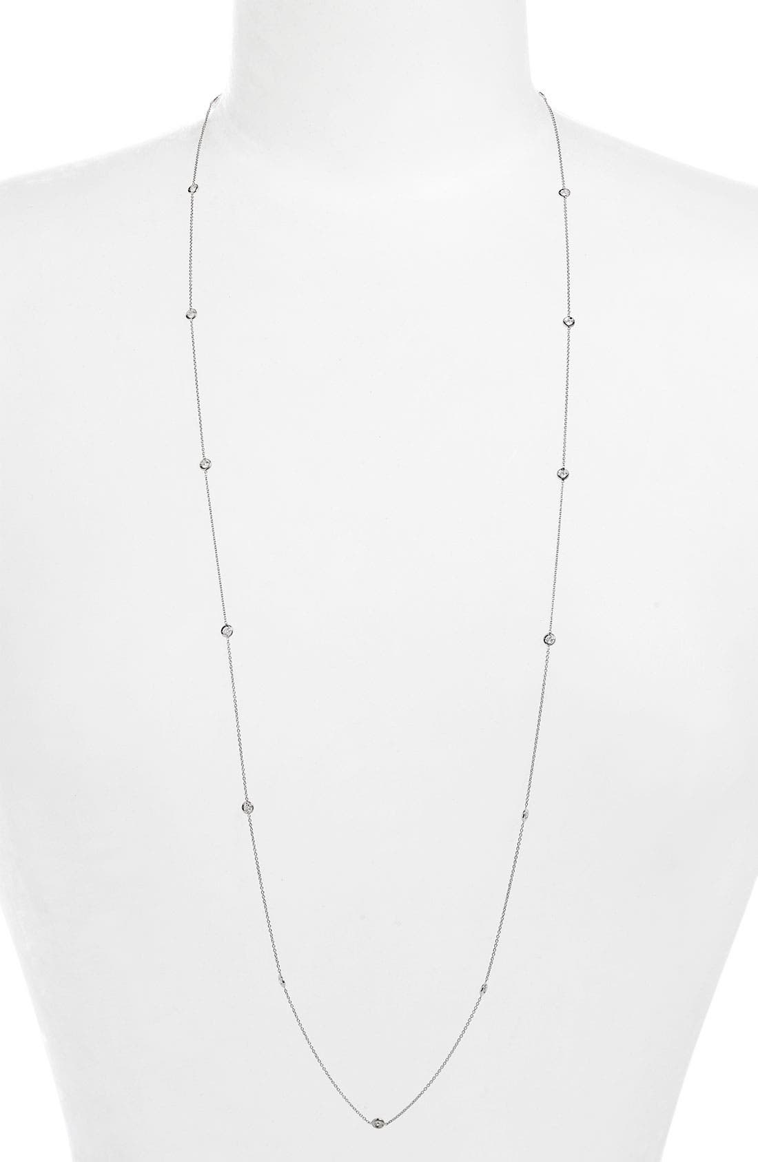 Diamond Station Necklace,                         Main,                         color, White Gold