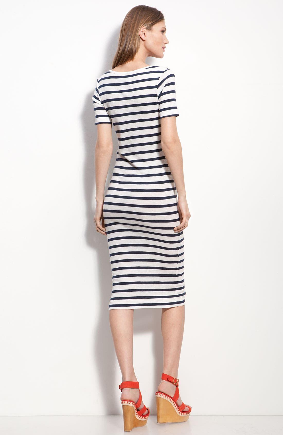 Stripe Knit Midi Sheath Dress,                             Alternate thumbnail 2, color,                             Off White/ Black