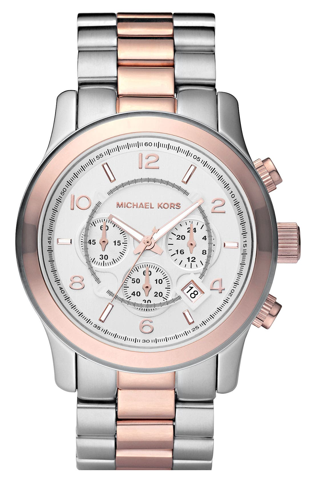 Alternate Image 1 Selected - Michael Kors 'Large Runway' Two Tone Chronograph Watch