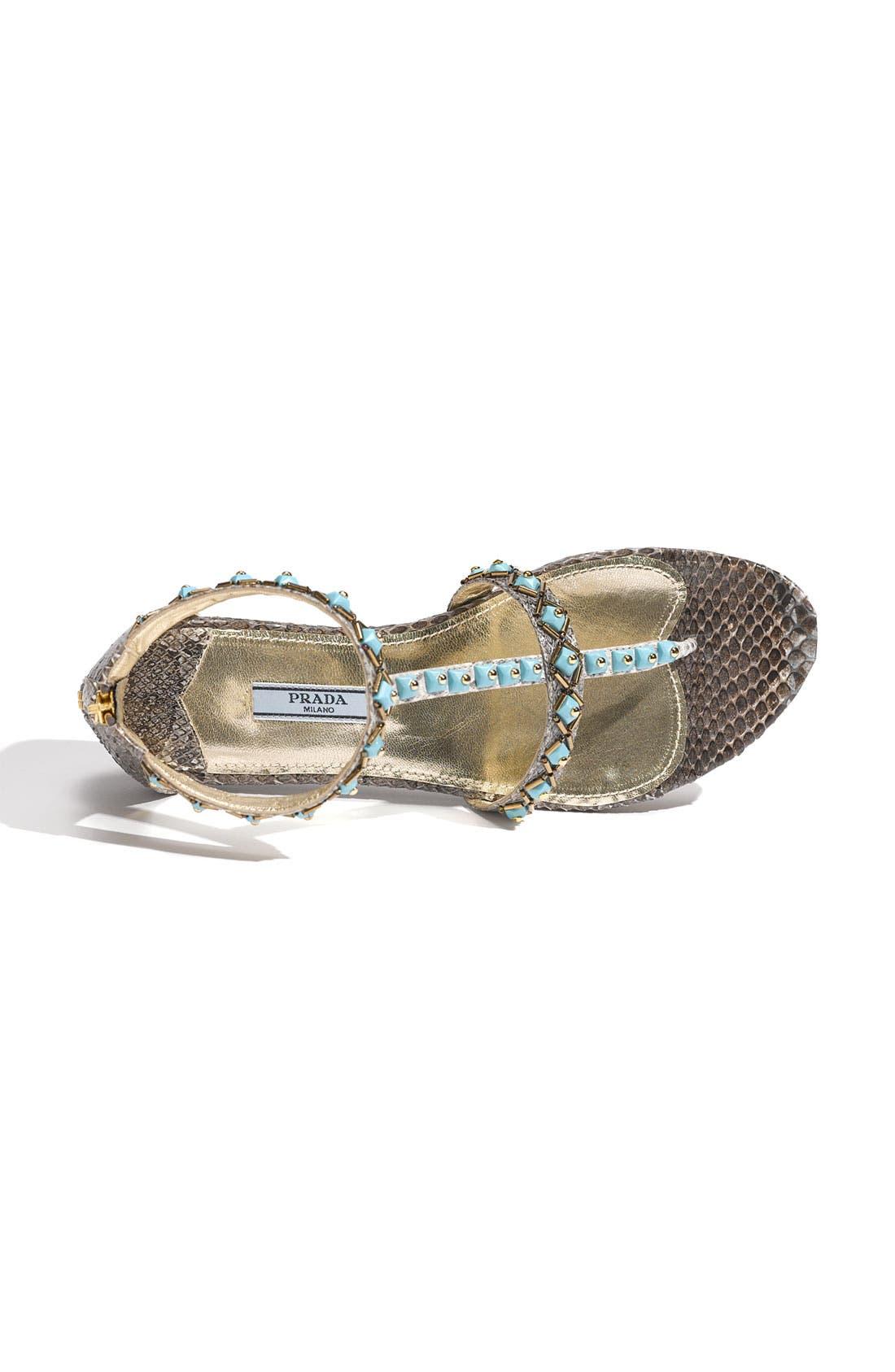 Alternate Image 3  - Prada Faux Turquoise Trim Genuine Snakeskin Sandal