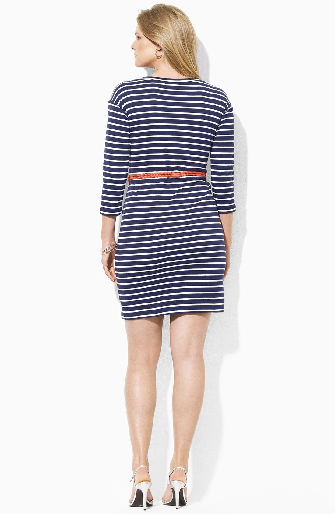 Alternate Image 2  - Lauren Ralph Lauren Belted Stripe Knit Sheath Dress (Plus)