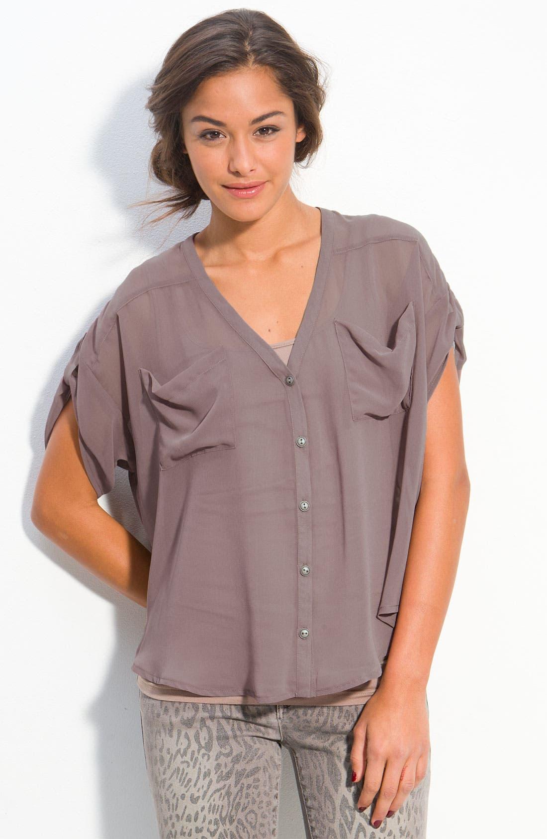 Main Image - Lush Sheer Cutout Back Shirt (Juniors)