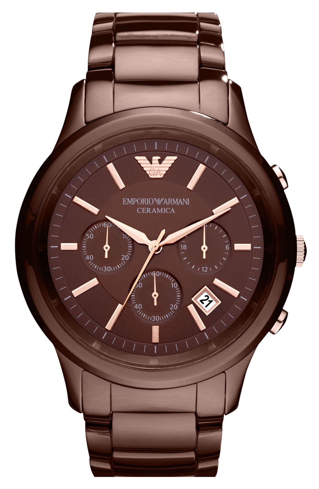 Alternate Image 1 Selected - Emporio Armani Ceramic Chronograph Watch