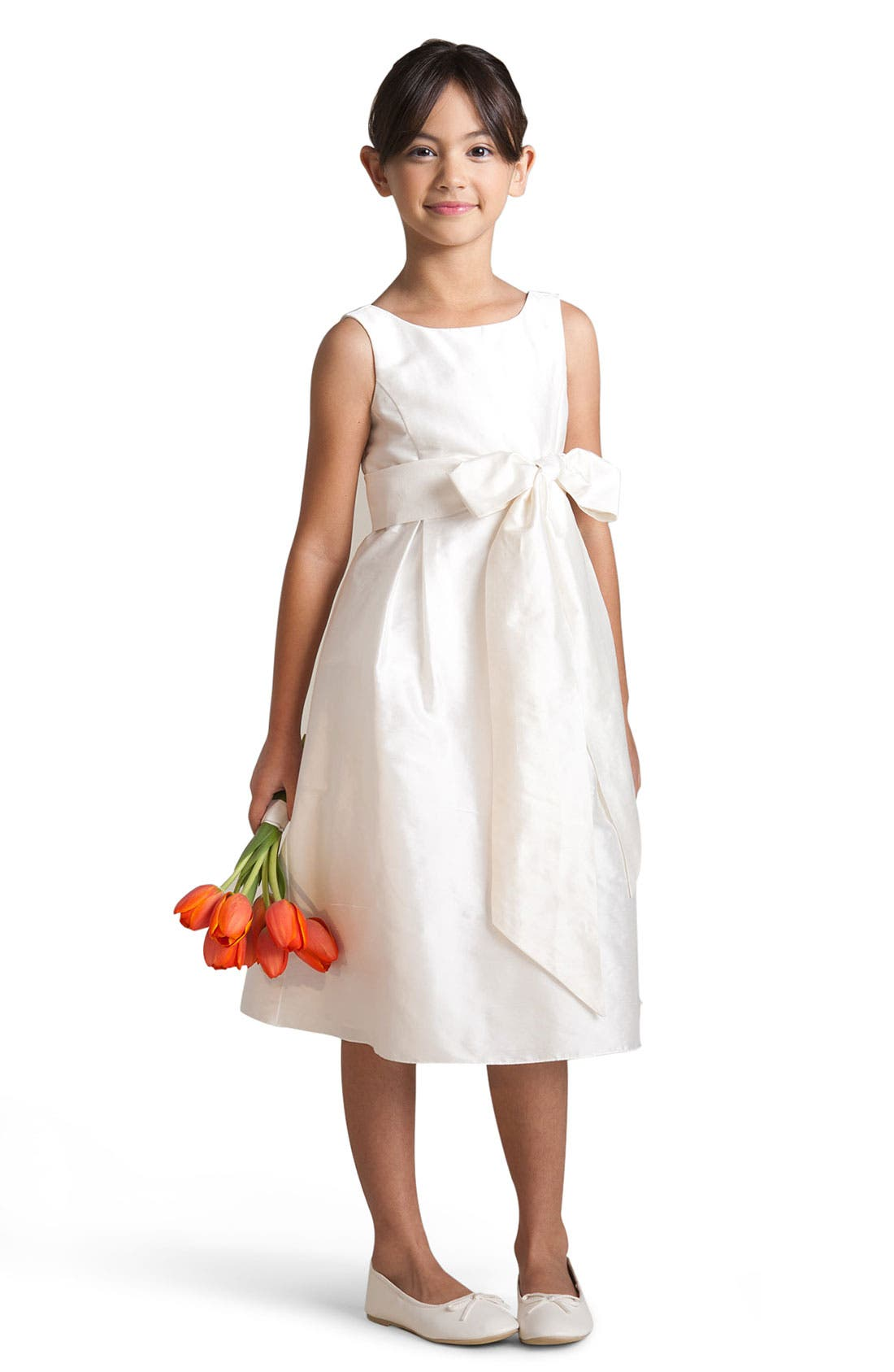 Alternate Image 1 Selected - Us Angels Silk Shantung Dress (Little Girls & Big Girls)