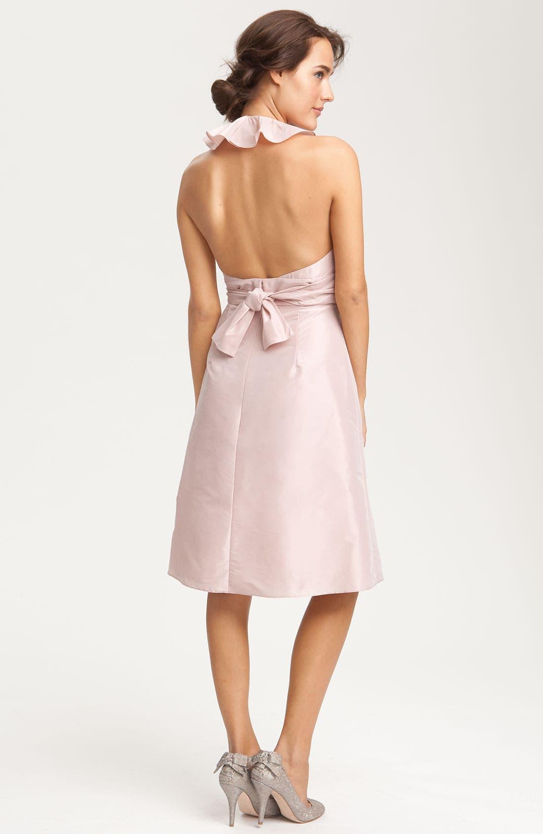 Alternate Image 2  - Amsale Ruffle Taffeta Halter Dress