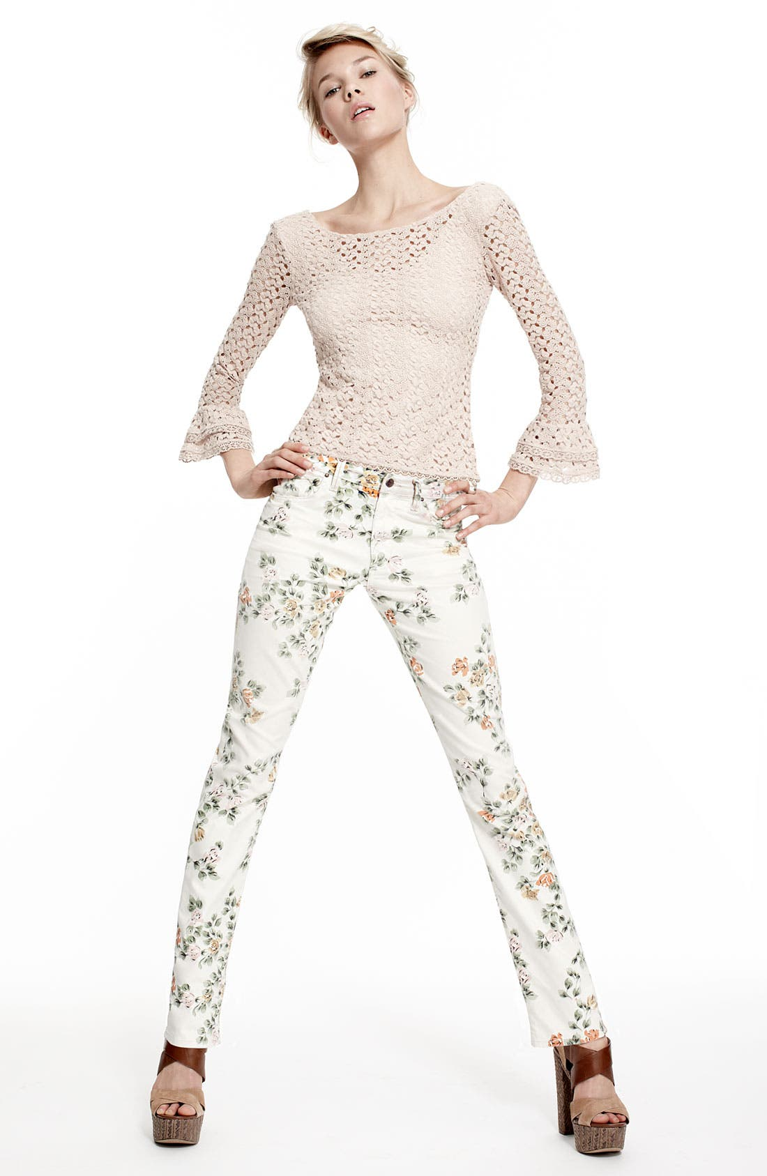 Alternate Image 6  - Citizens of Humanity 'Mandy' High Waist Slim Leg Floral Print Jeans (Natural Petite Rose)