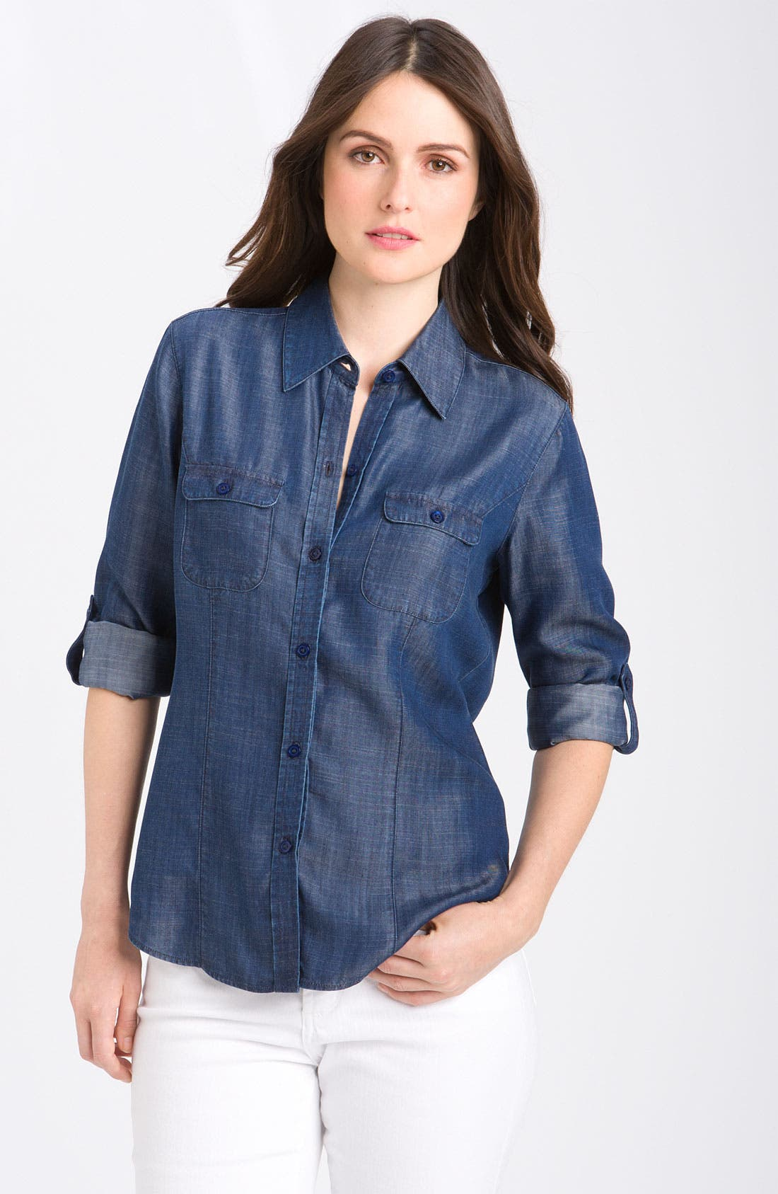 Main Image - Foxcroft Fitted Long Sleeve Denim Shirt