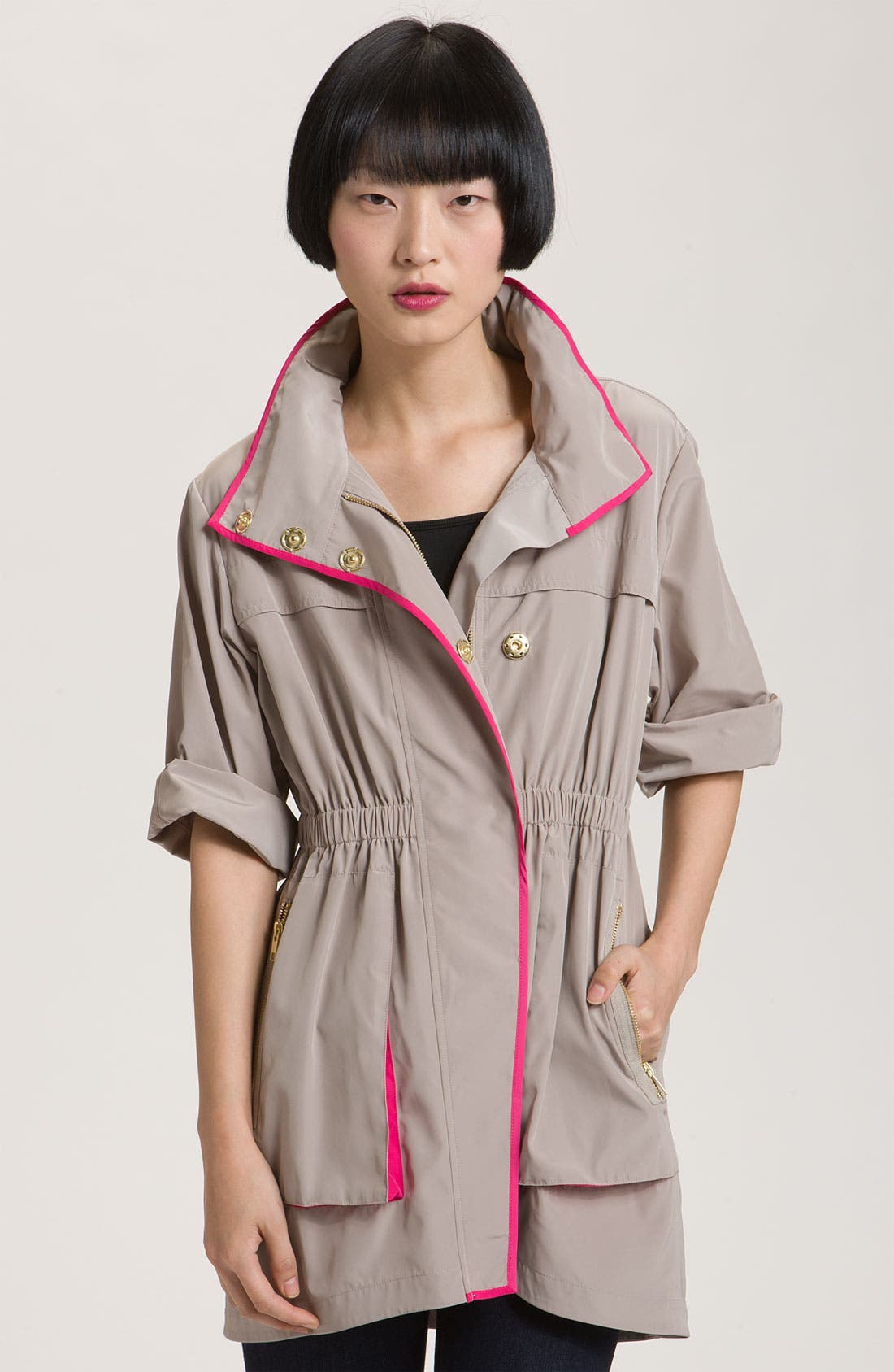 Main Image - Ali Ro Short Sleeve Anorak with Contrast Trim