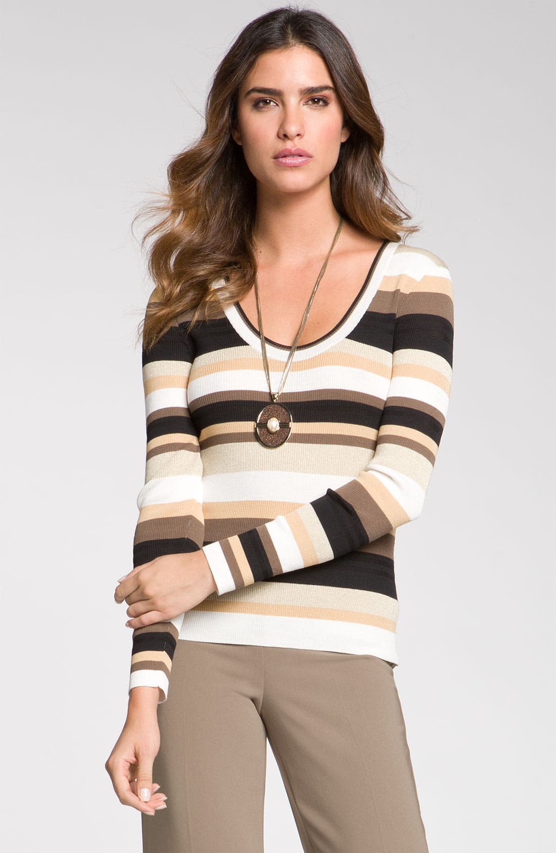 Alternate Image 1 Selected - St. John Collection Stripe Scoop Neck Sweater