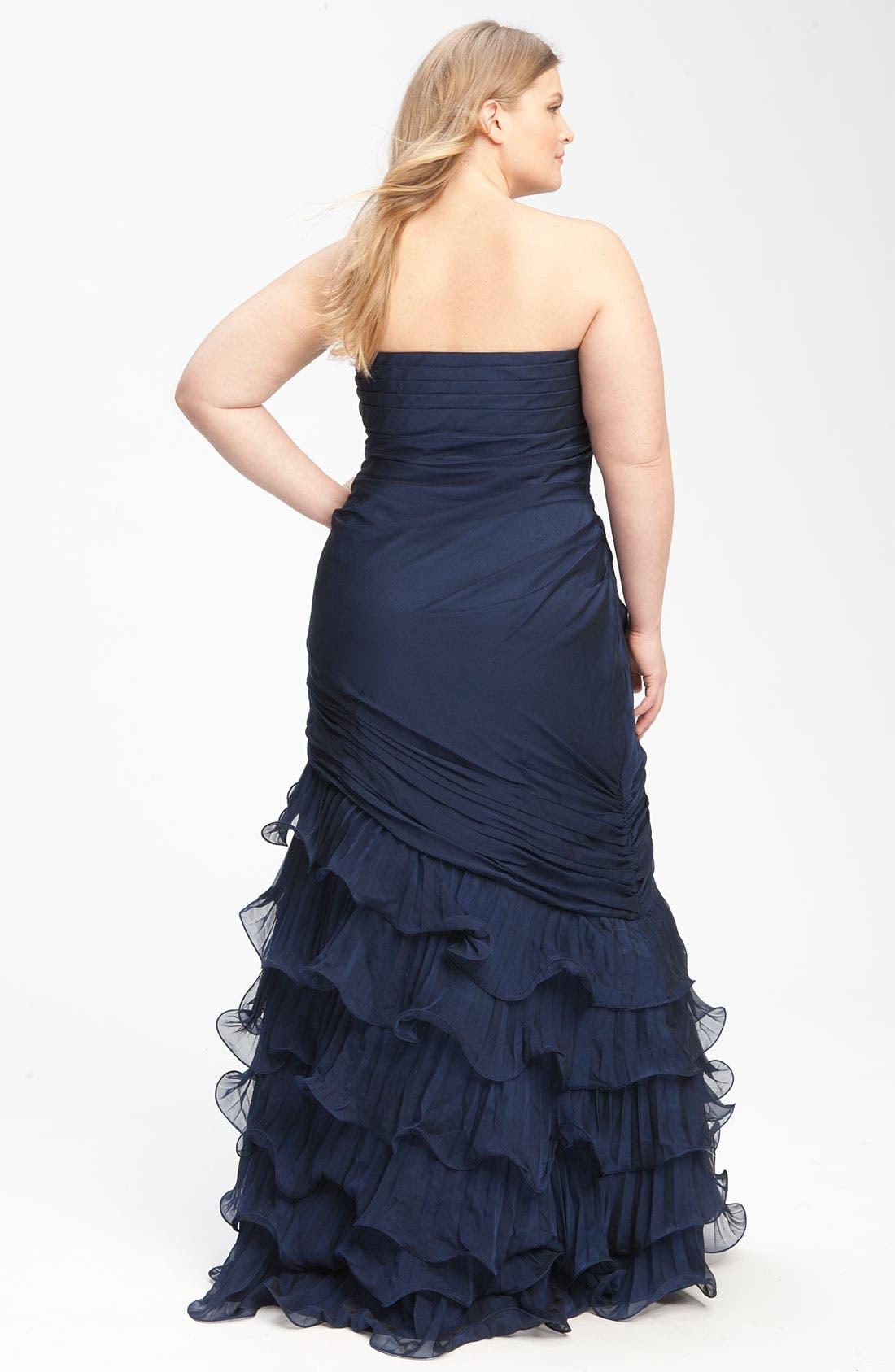Alternate Image 2  - Dalia MacPhee Strapless Ruffle Chiffon Gown (Juniors Plus)
