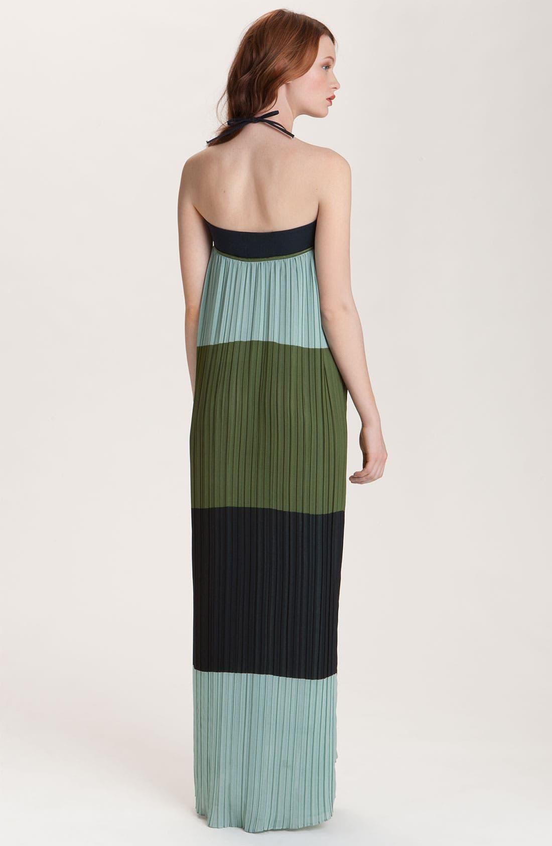 Alternate Image 2  - Derek Lam 10 Crosby Pleated Colorblock Halter Maxi Dress