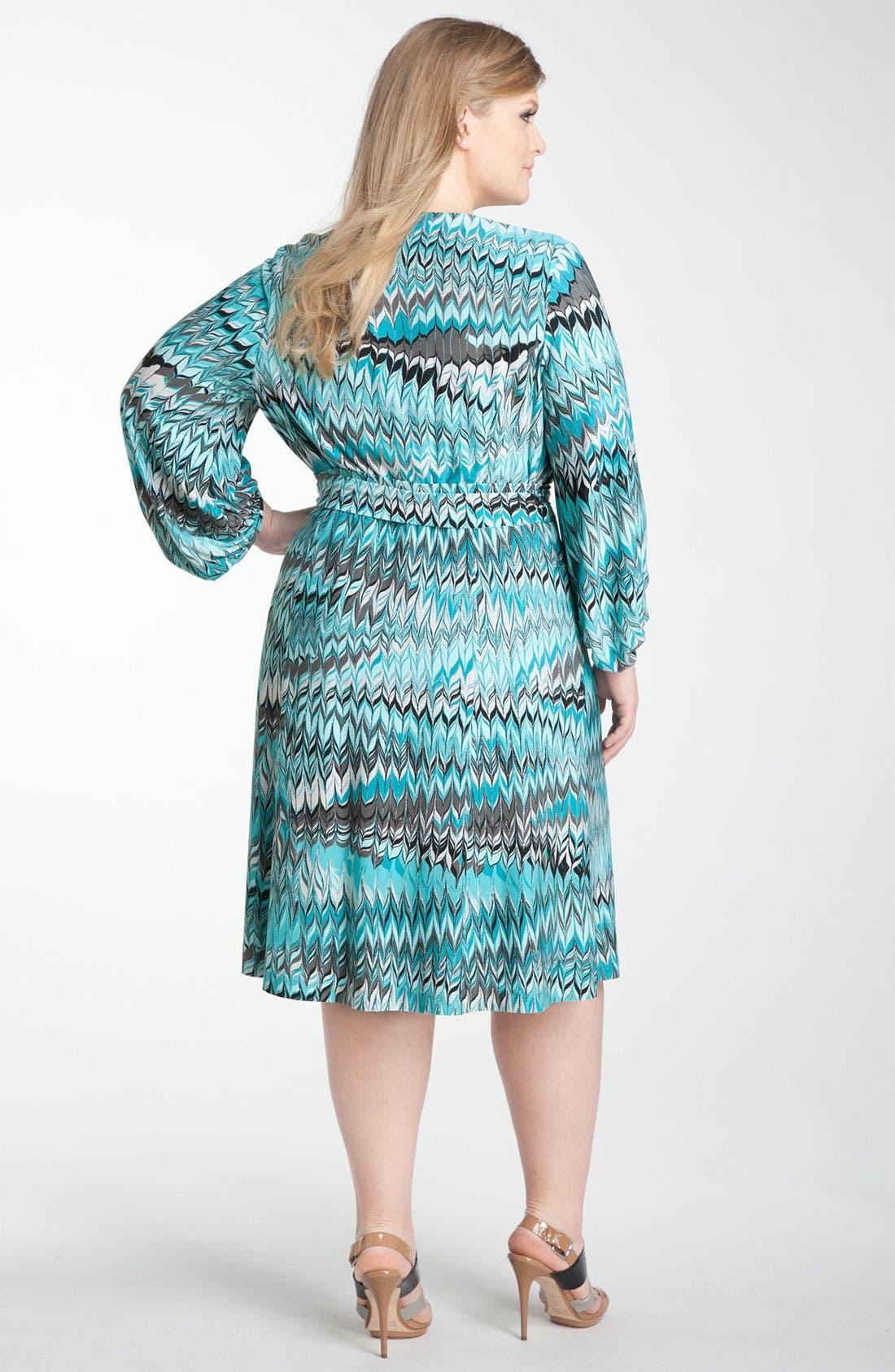 Alternate Image 2  - Donna Ricco Print Jersey Faux Wrap Dress (Plus)