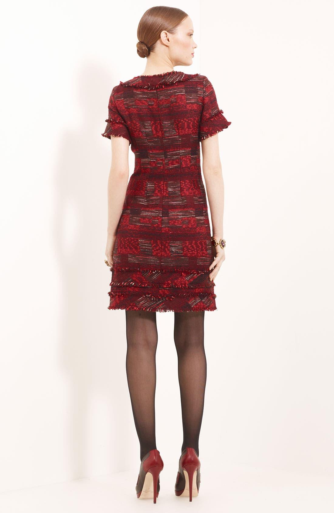 Alternate Image 2  - Oscar de la Renta Mixed Media Tweed Dress