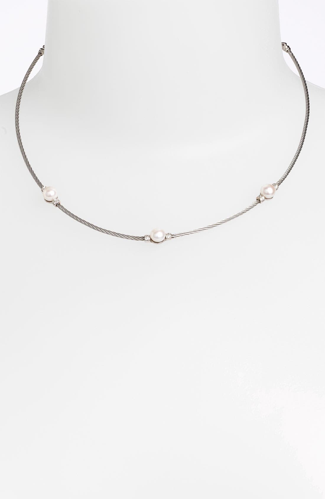 Main Image - ALOR® Pearl & Diamond Station Necklace