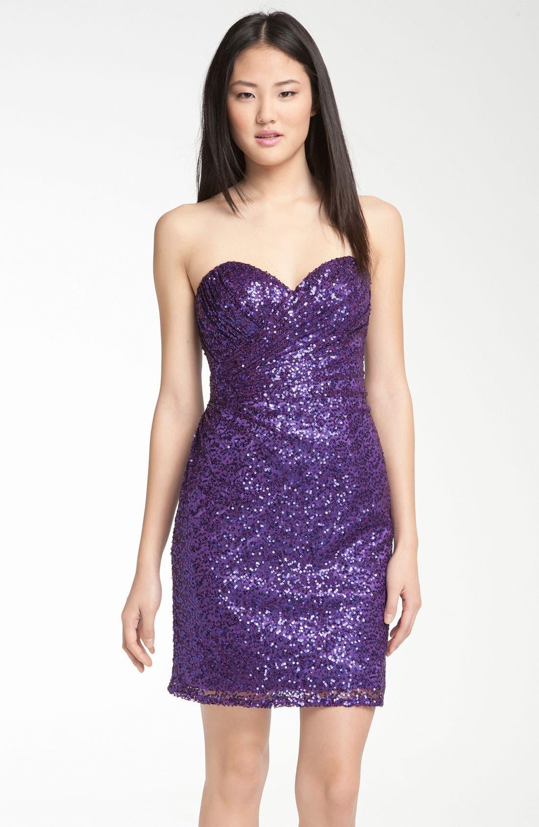 Main Image - La Femme Sweetheart Neck Sequin Cocktail Dress