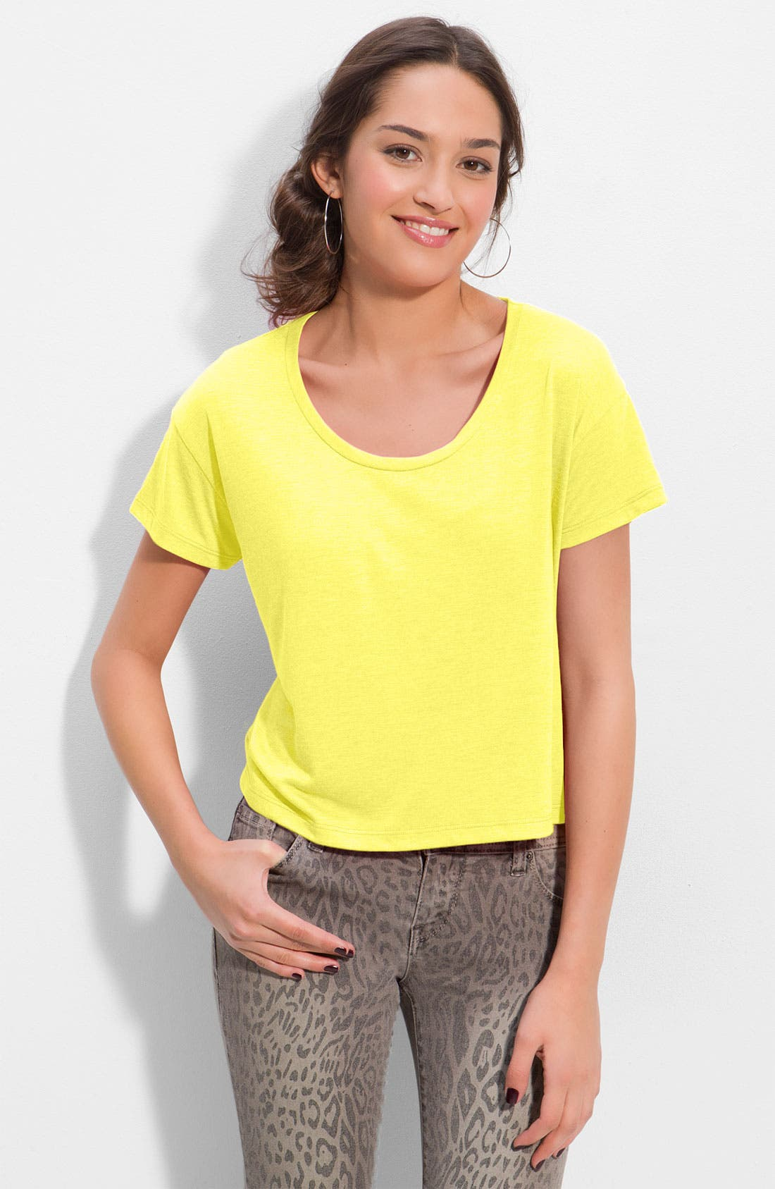 Alternate Image 1 Selected - Frenchi® Scoop Neck Boxy Tee (Juniors)