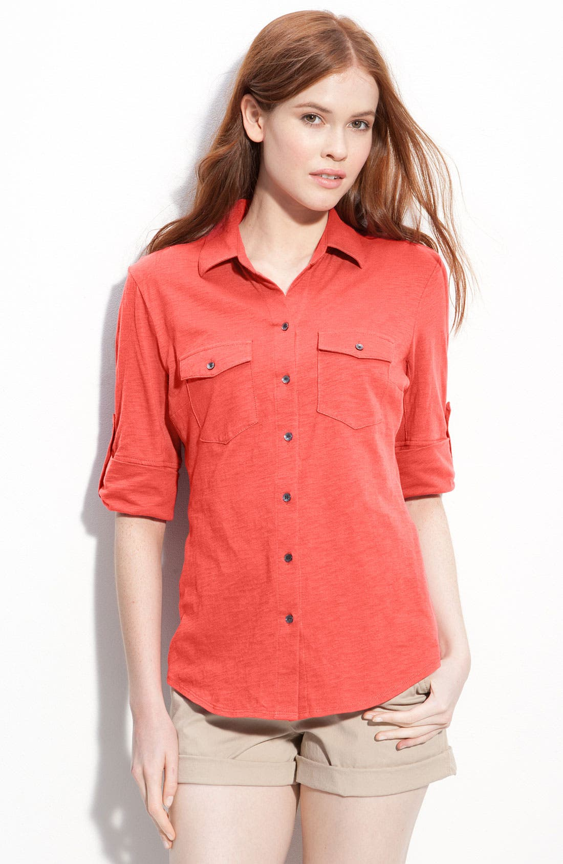 Main Image - Sandra Three Quarter Roll Sleeve Knit Shirt (Regular & Petite)