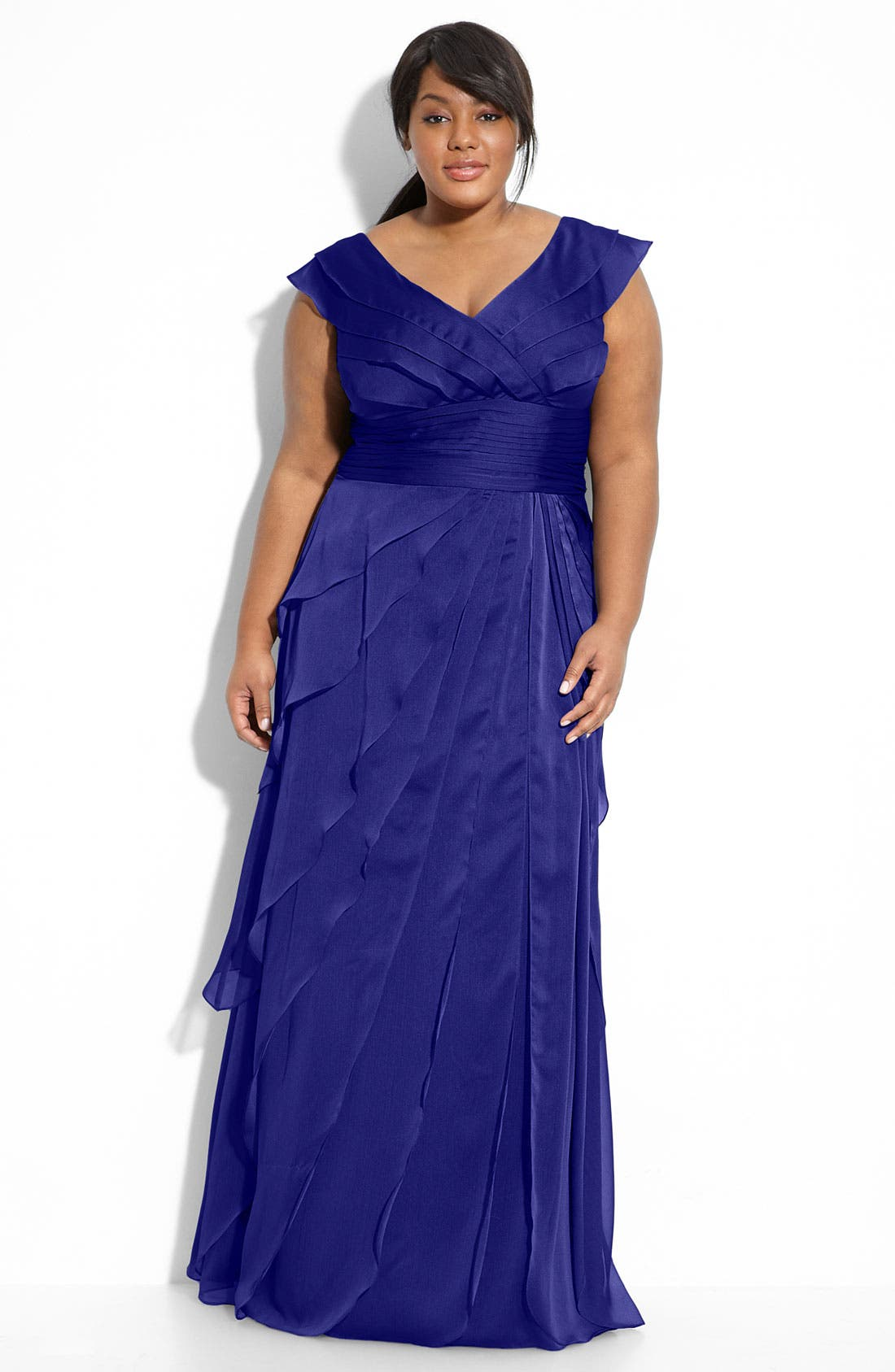 Main Image - Adrianna Papell Iridescent Chiffon Petal Gown (Plus Size)