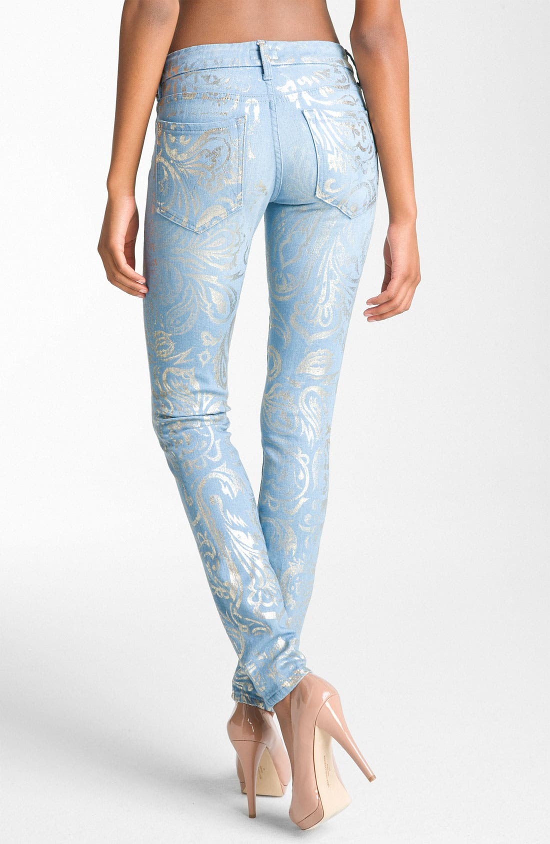 Main Image - MOTHER 'The Looker' Metallic Print Skinny Jeans (Gold Rush)